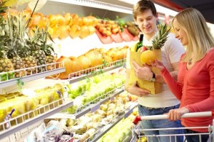 comprando alimentos